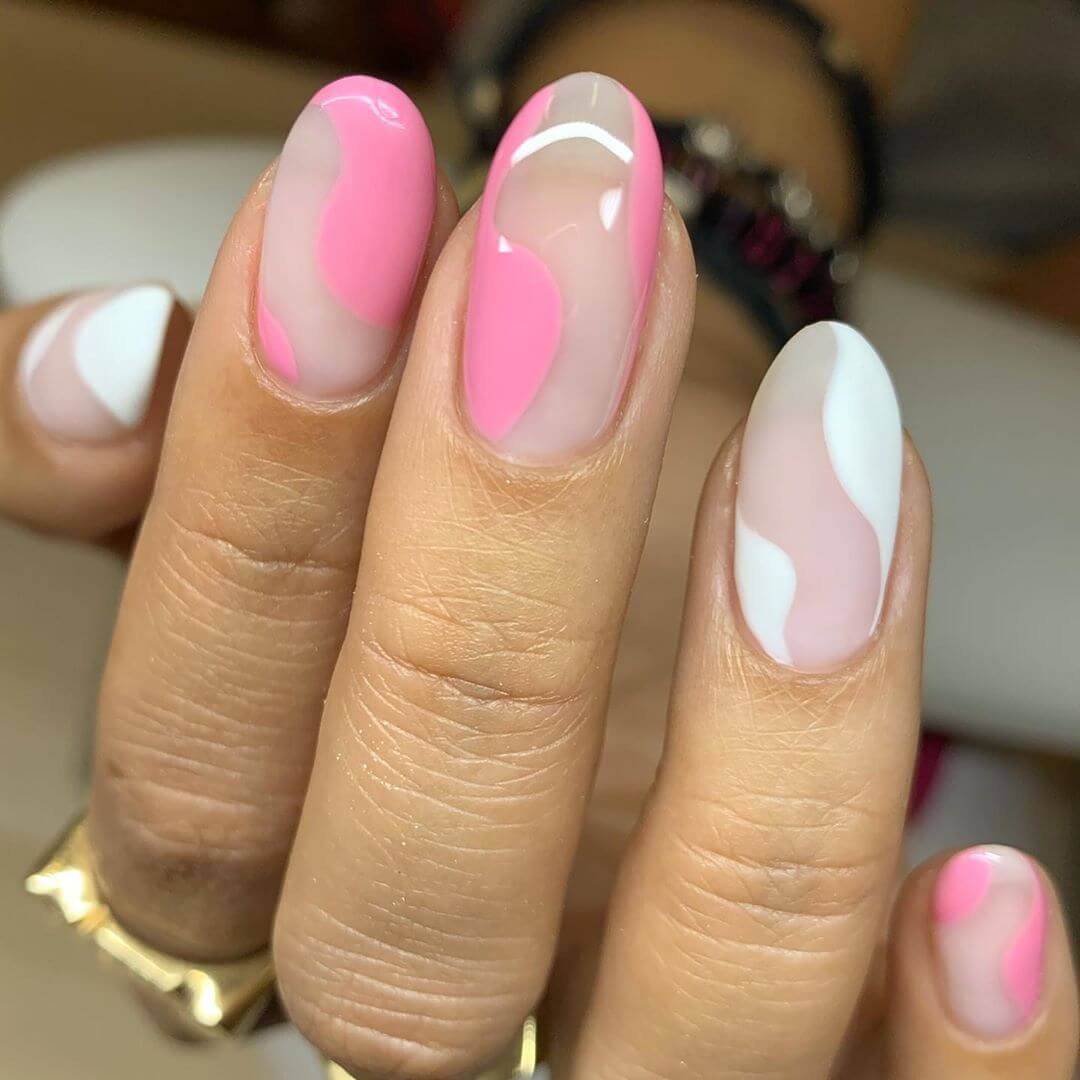 Pink And White Nail Art Designs