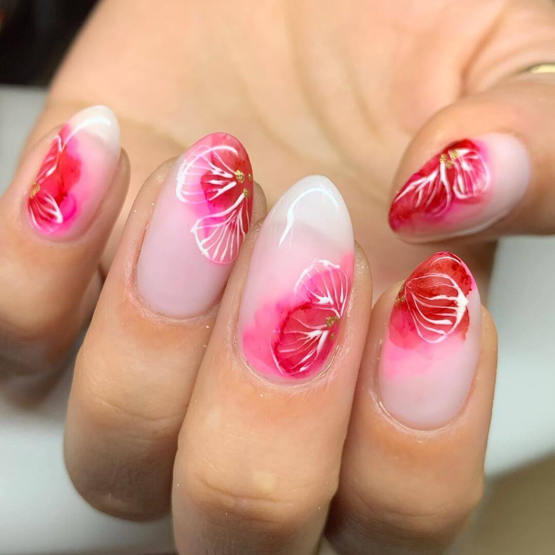 Pink Flowers Nail Art Designs