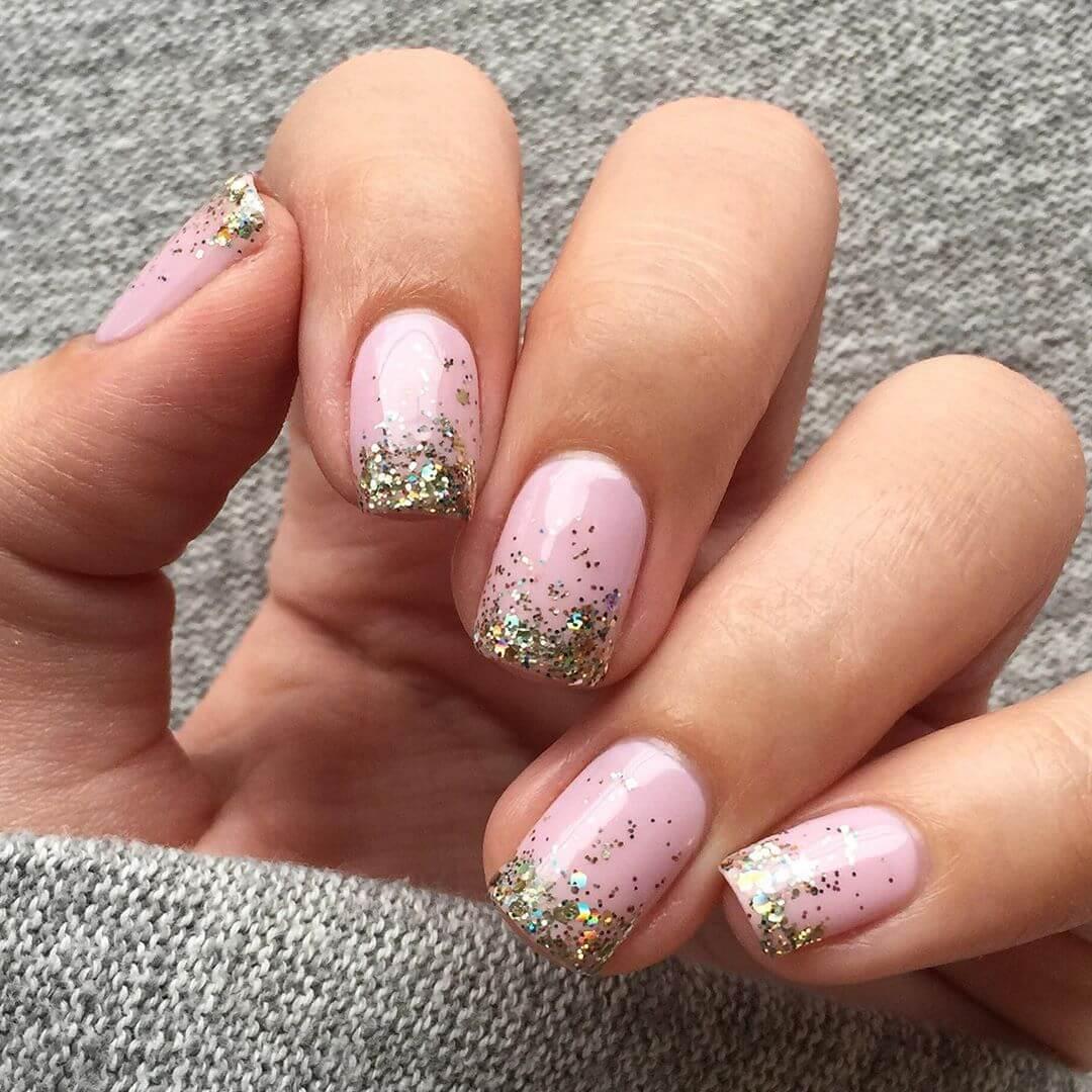 Pink glitters Nail Art Designs