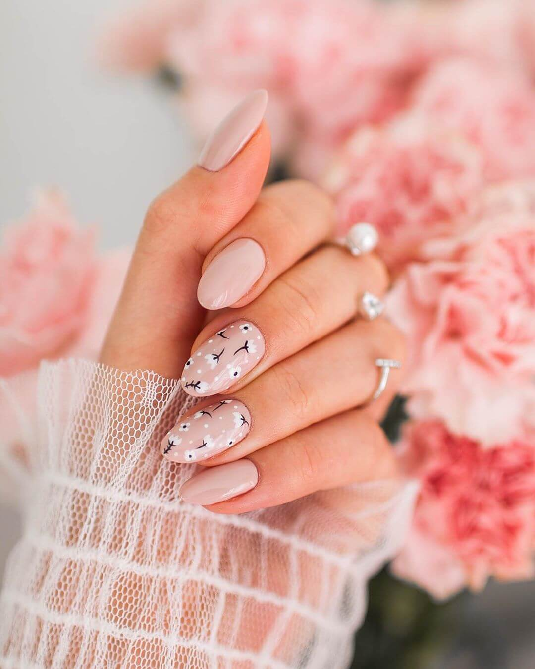 Floral vibes Pink Nail Art Designs