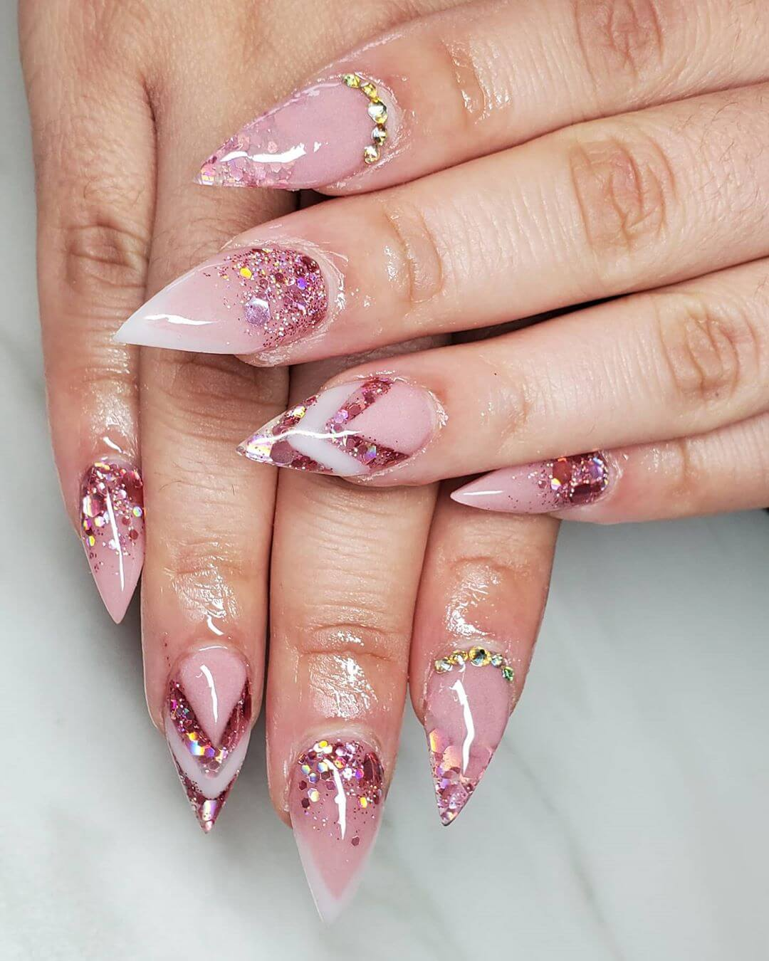 Nails sharper Pink Nail Art Designs with glitter