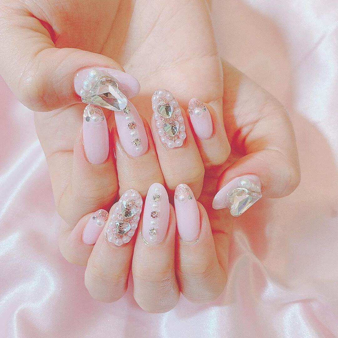 Light pink Nail Art Designs with white pearls