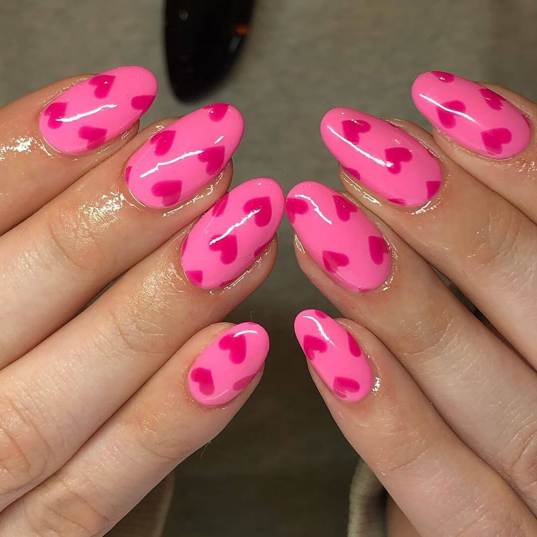 Dark Pink heart Nail Art Designs
