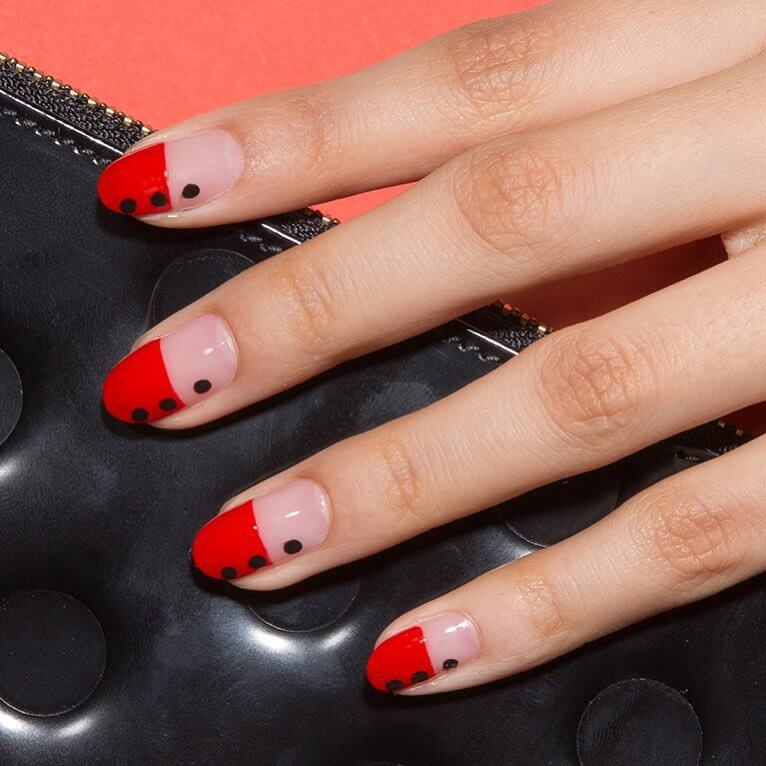 Fiery Red and Negative Space Red and Black Nail Art Designs