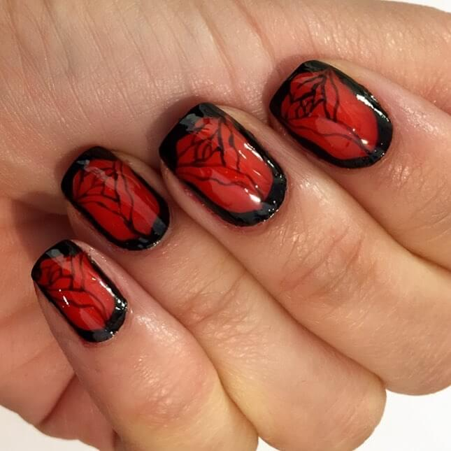 Delightful Roses Red and Black Nail Art Designs