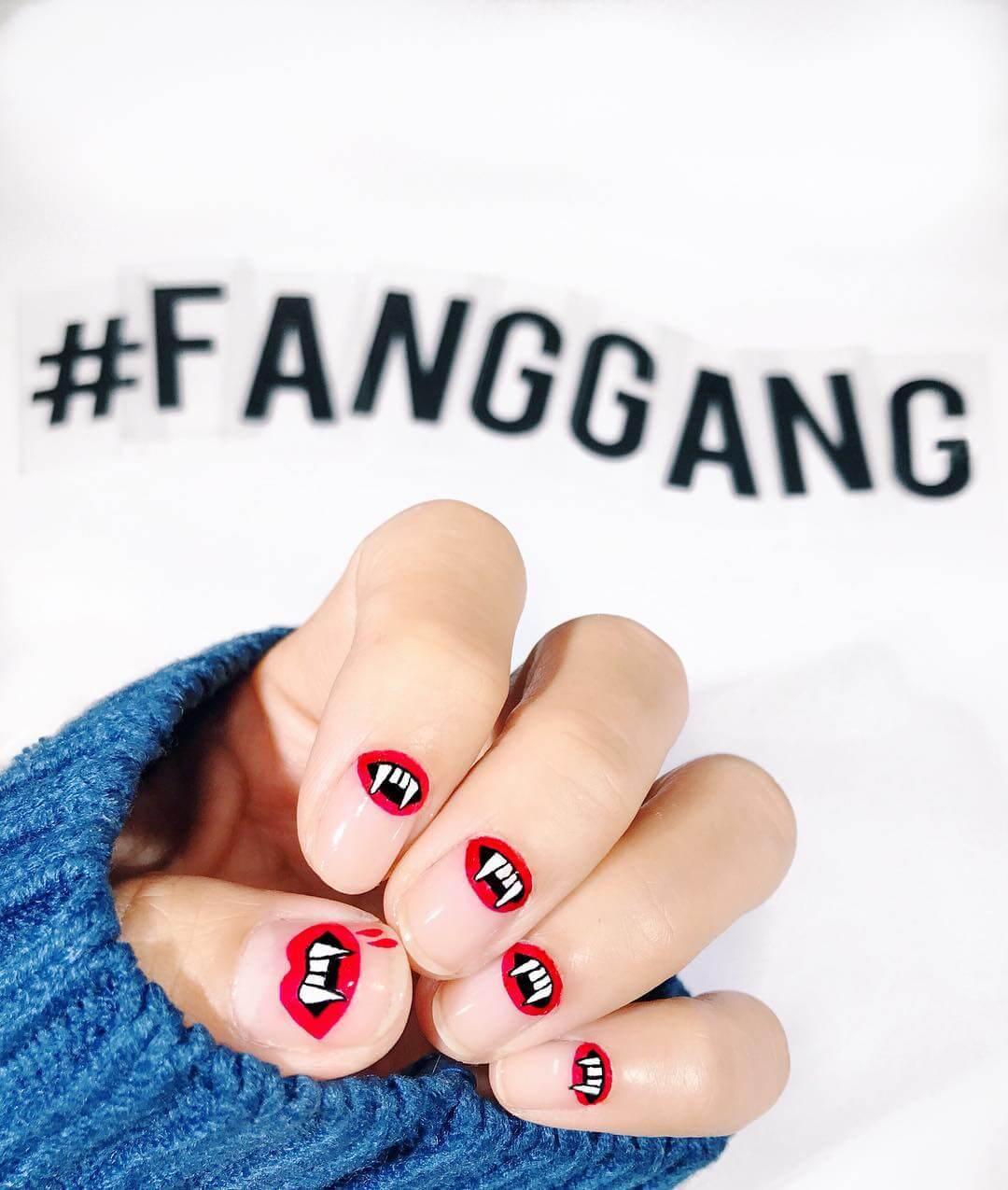 Vampire Nails Red and Black Nail Art Designs