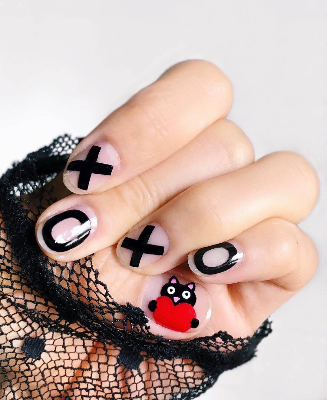 Catentine Nails Red and Black Nail Art Designs