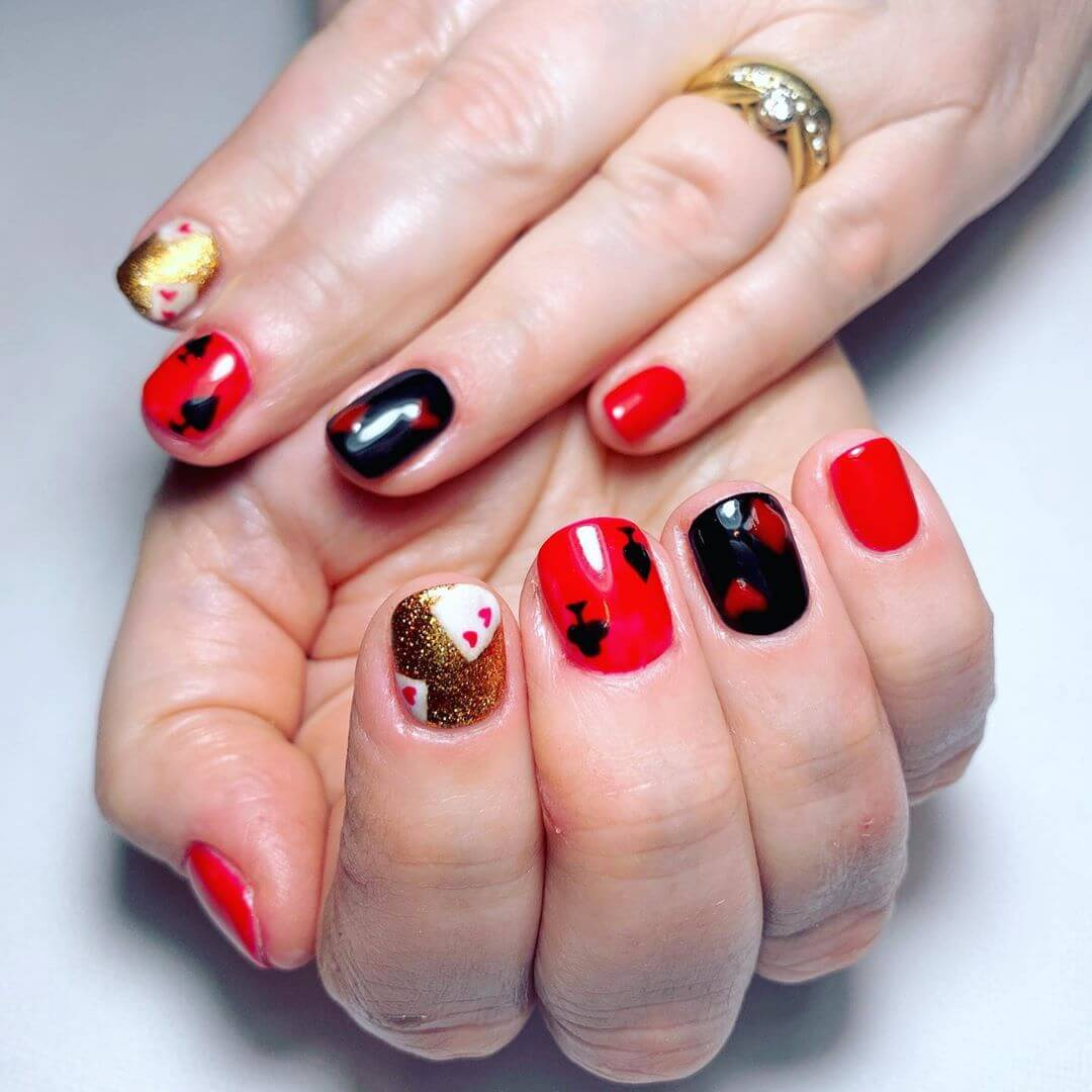 Touch of Gold Red and Black Nail Art Designs