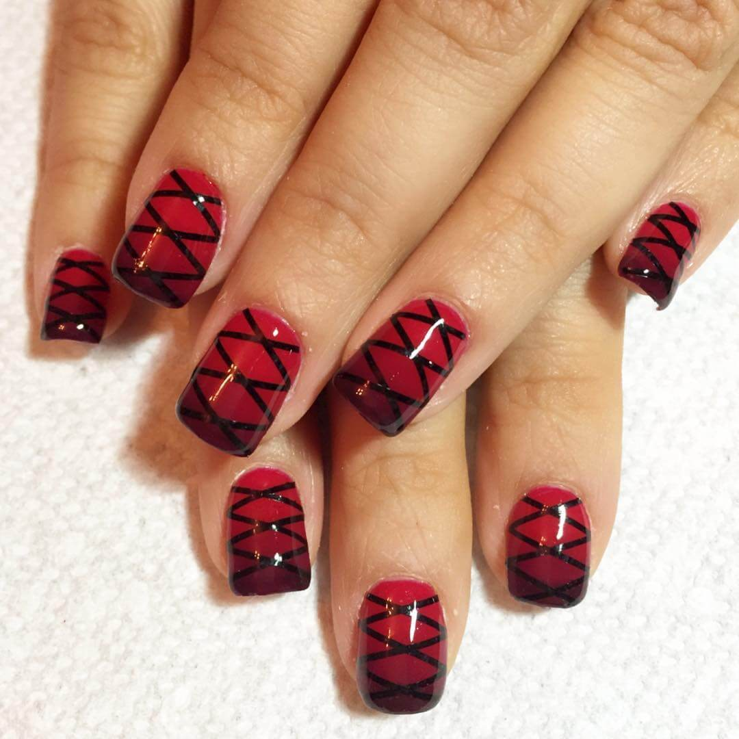Fishnets Red and Black Nail Art Designs