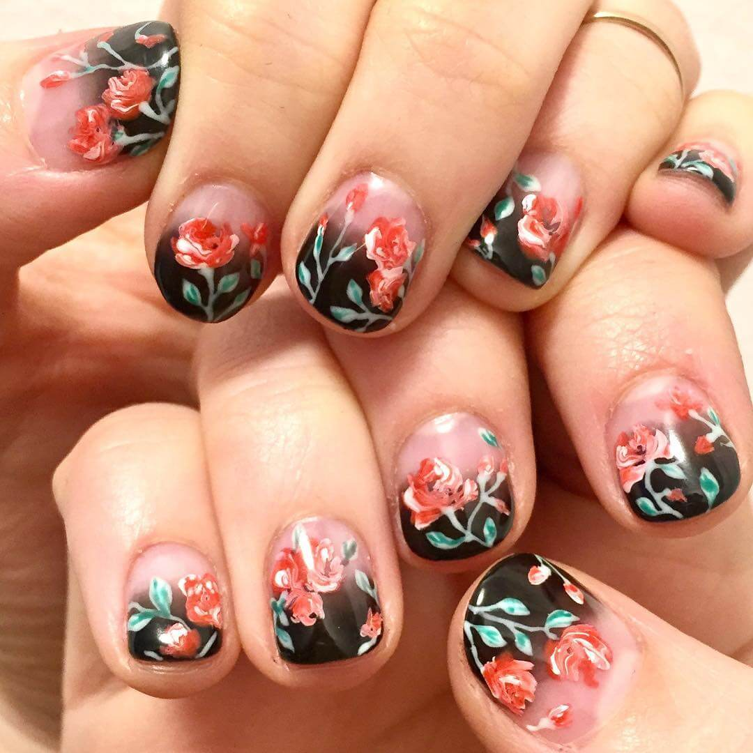 Rosy Red and Black Nail Art Designs