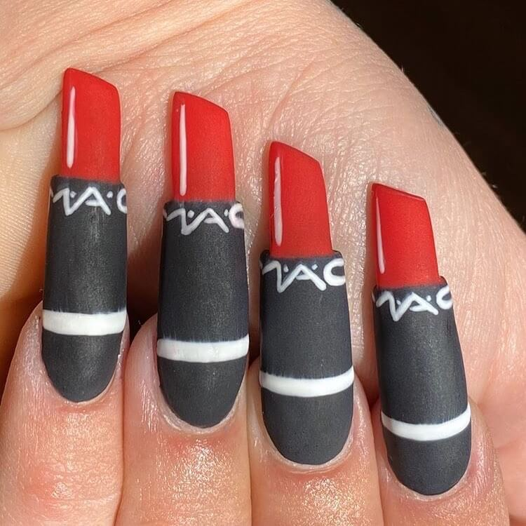 Lipstick Nails Red and Black Nail Art Designs