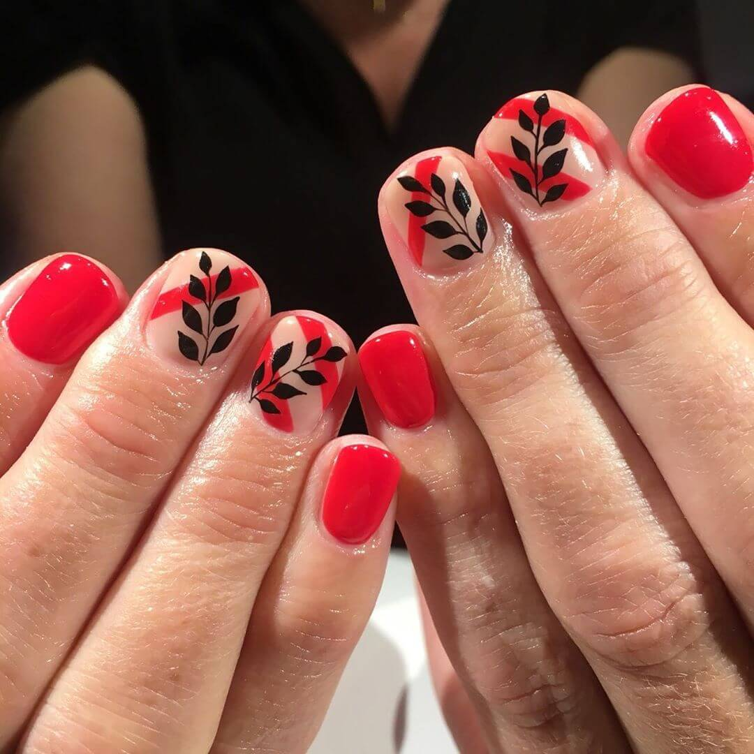 Leaves Red and Black Nail Art Designs