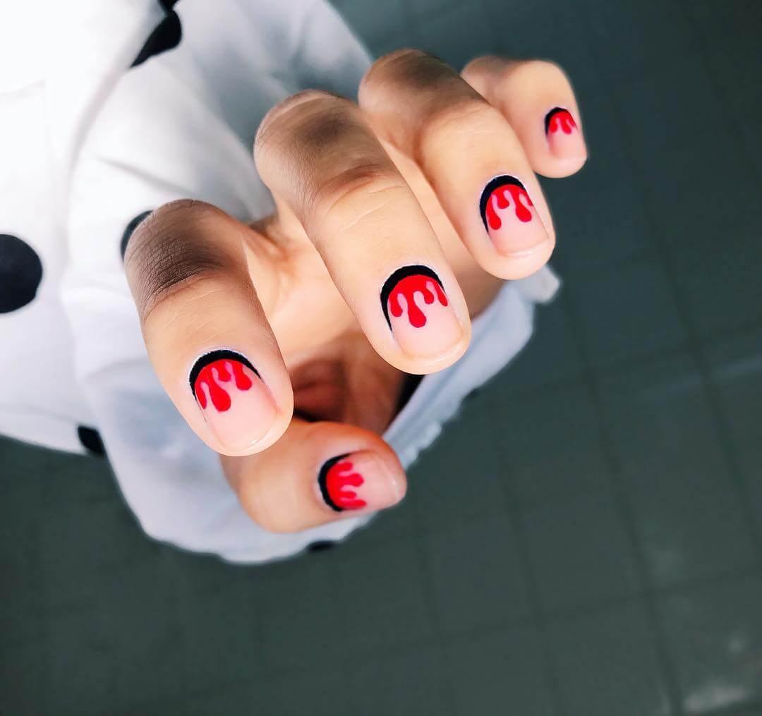 Drippy Nails Red and Black Nail Art Designs
