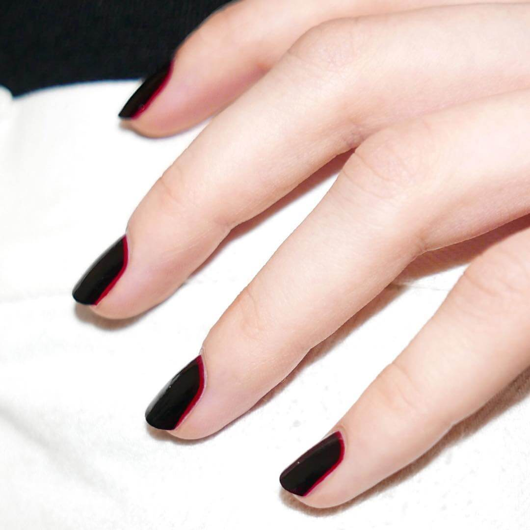 Romantic Chic Nails Red and Black Nail Art Designs