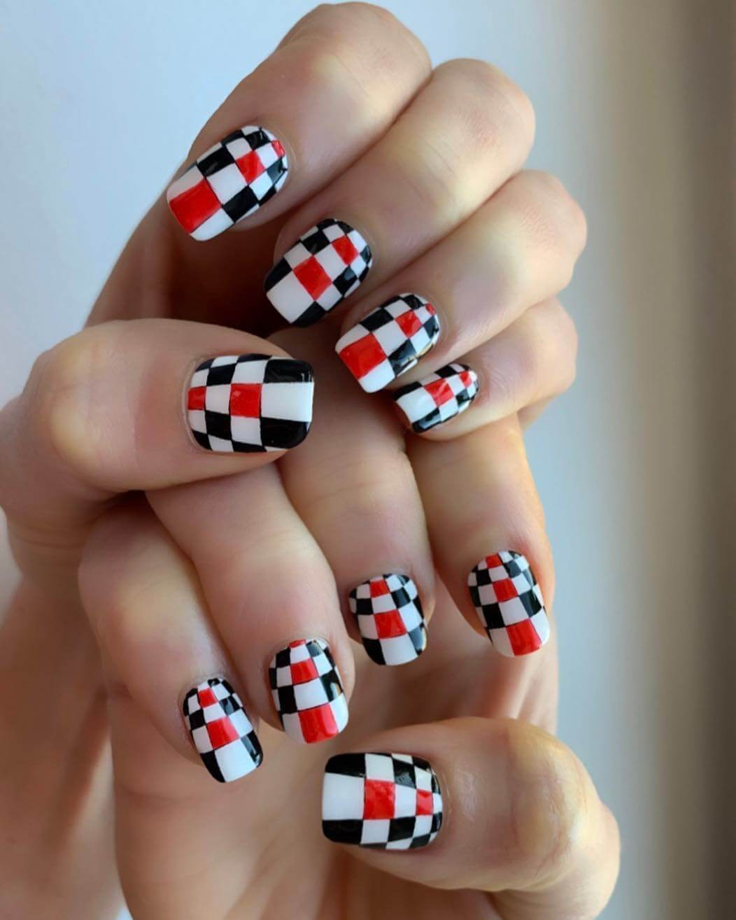 Race Vibes Red and Black Nail Art Designs