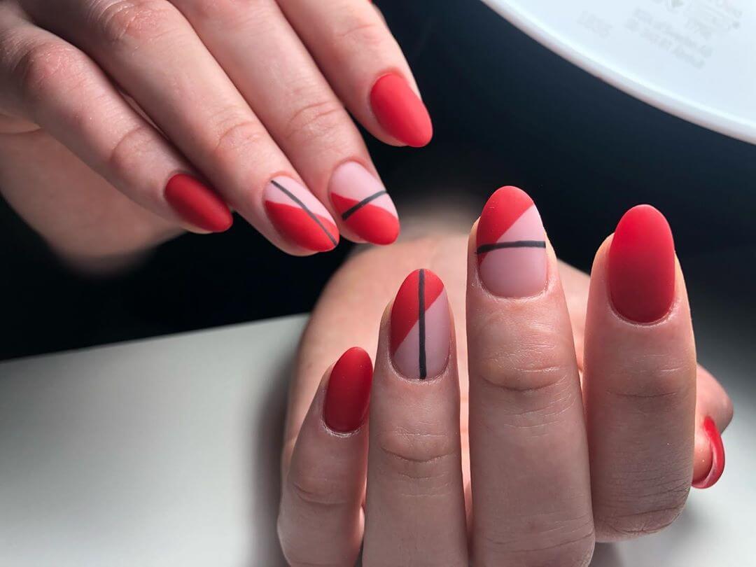 Powder-top Nails Red and Black Nail Art Designs