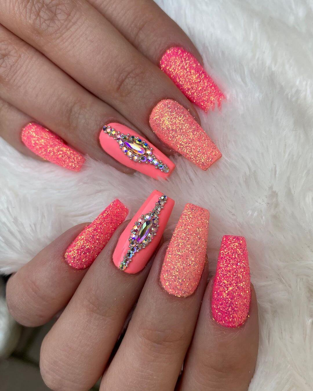 Shades of Pink Rhinestone Nail Art Design