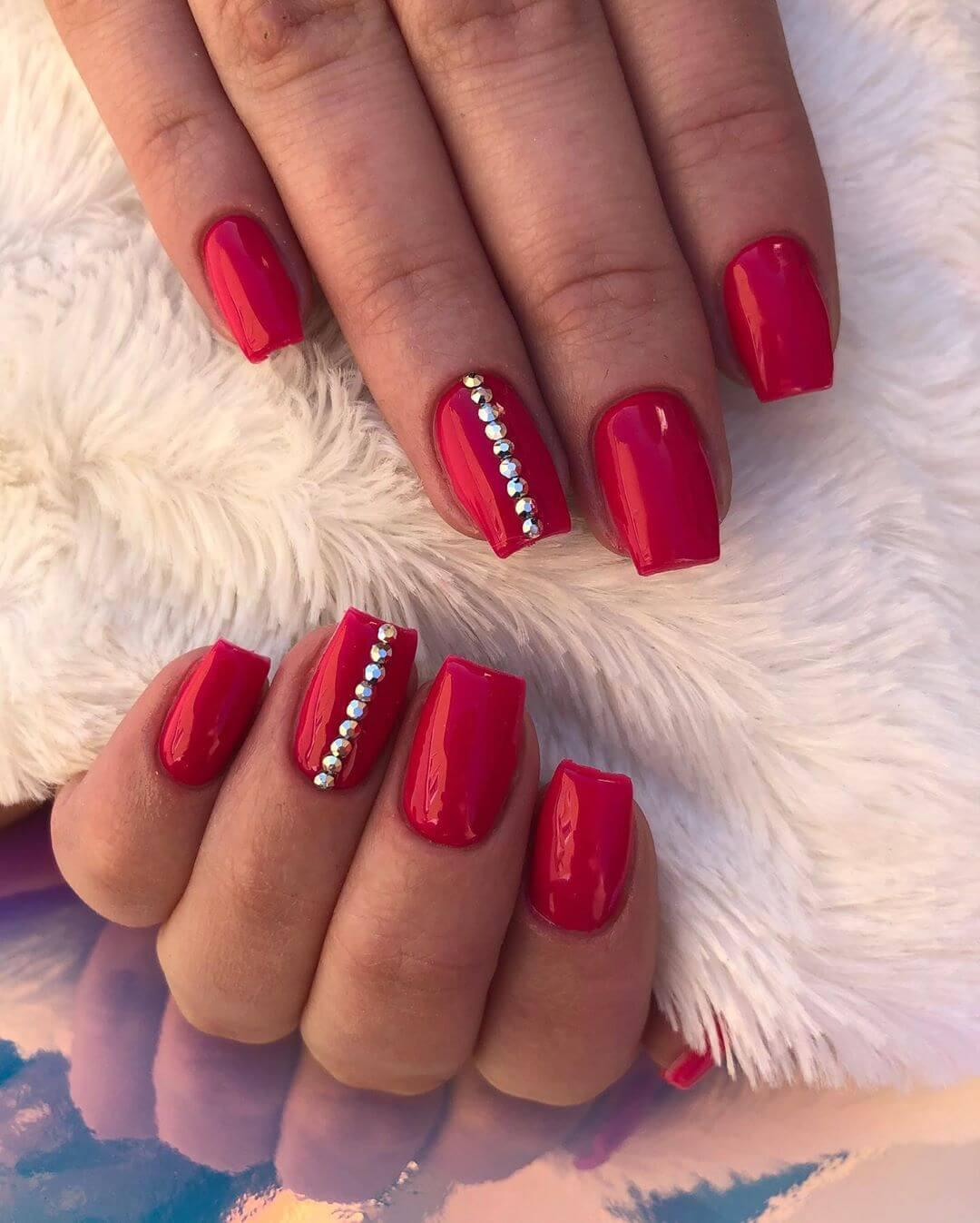 The Bold Red Rhinestone Nail Art Design