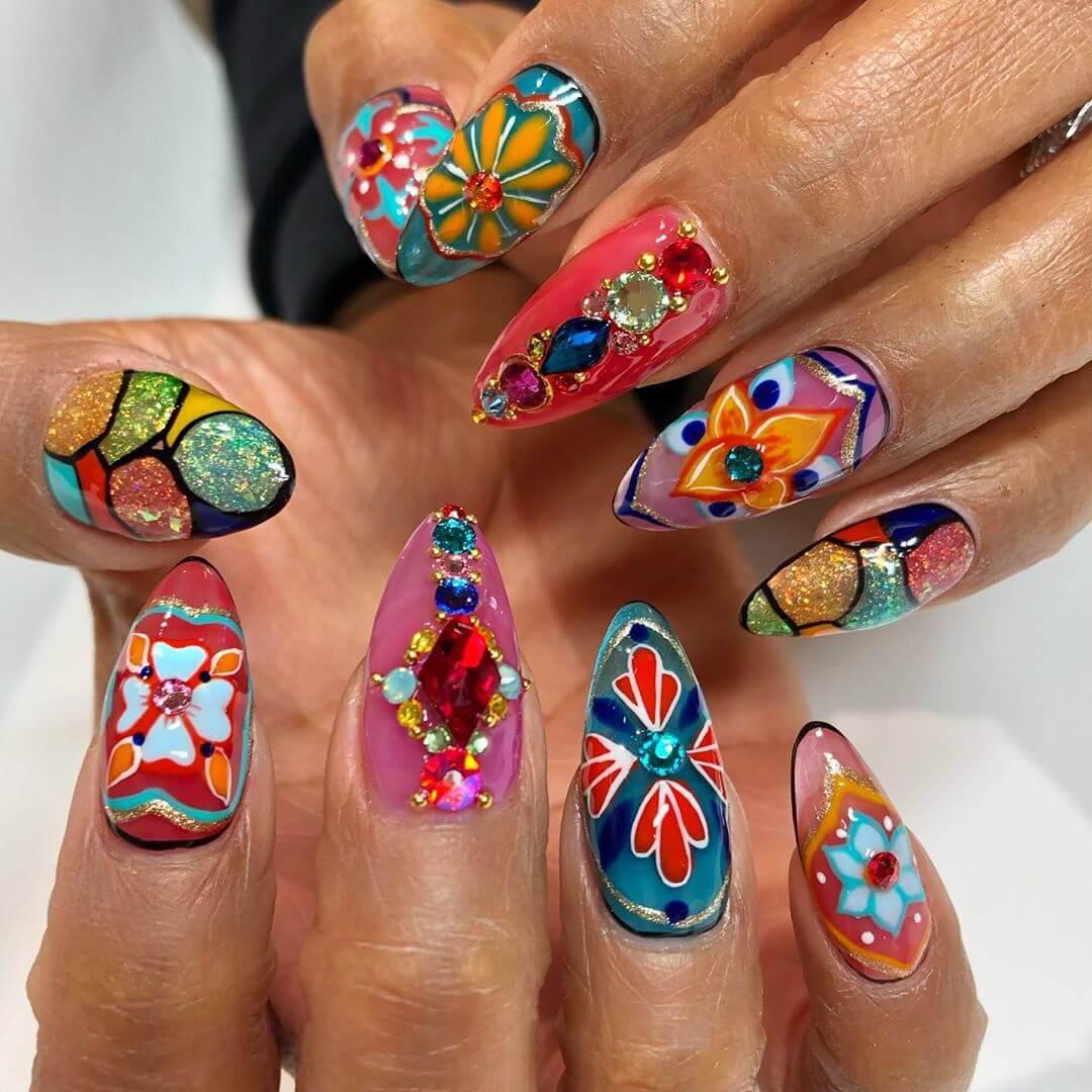 Colorful Rhinestone Nail Art Design