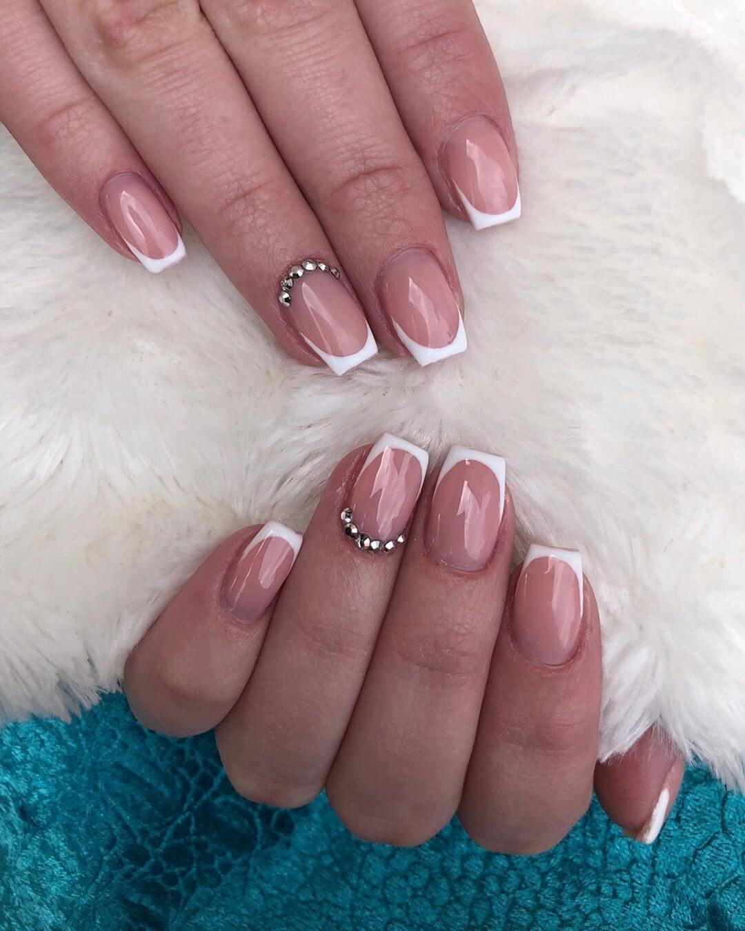 Classic French Manicure Rhinestone Nail Art Design