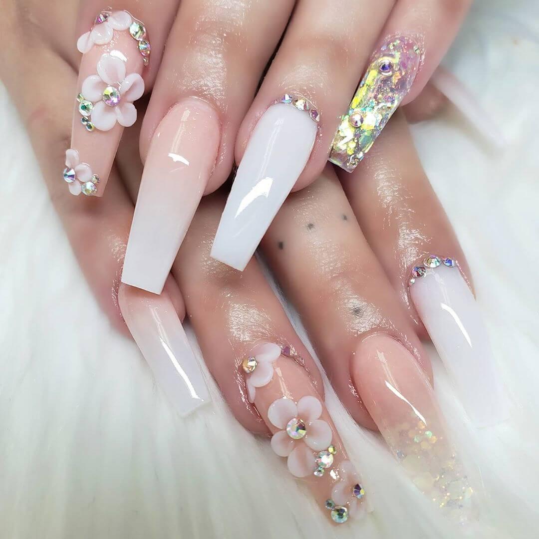 Acrylic Flowers Rhinestone Nail Art Design