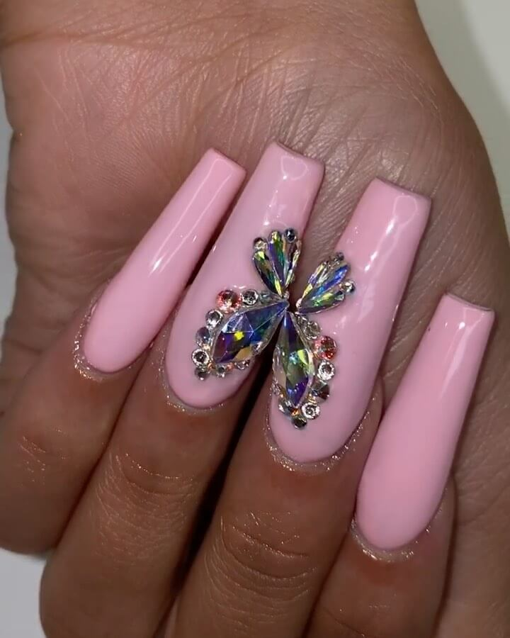 The Butterfly Effect Rhinestone Nail Art Design