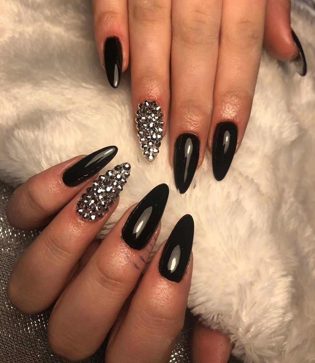 Sharp and Sexy Rhinestone Nail Art Design