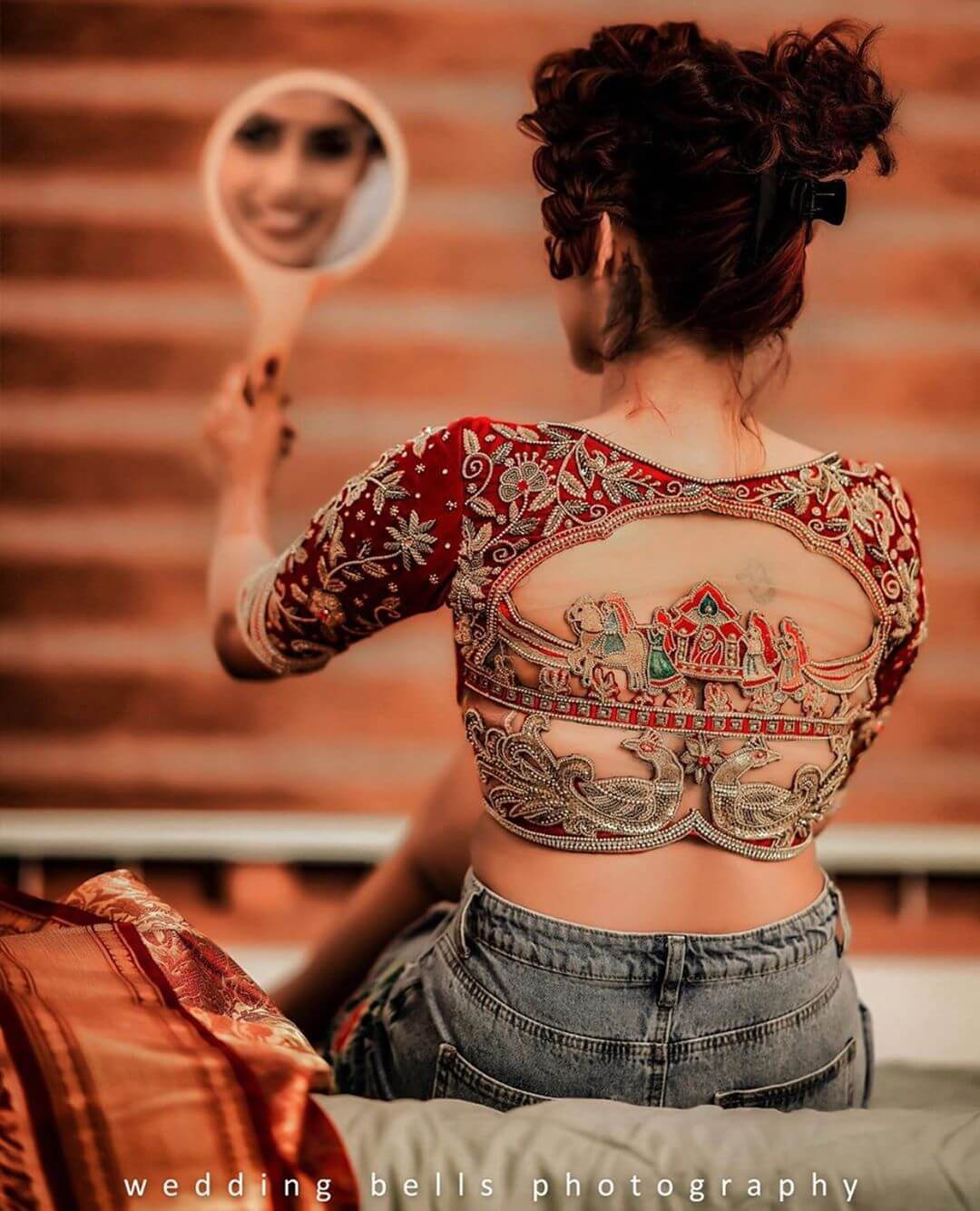 blouse representing Indian culture of bidding farewell South Indian Real Bride Designer Blouse Designs