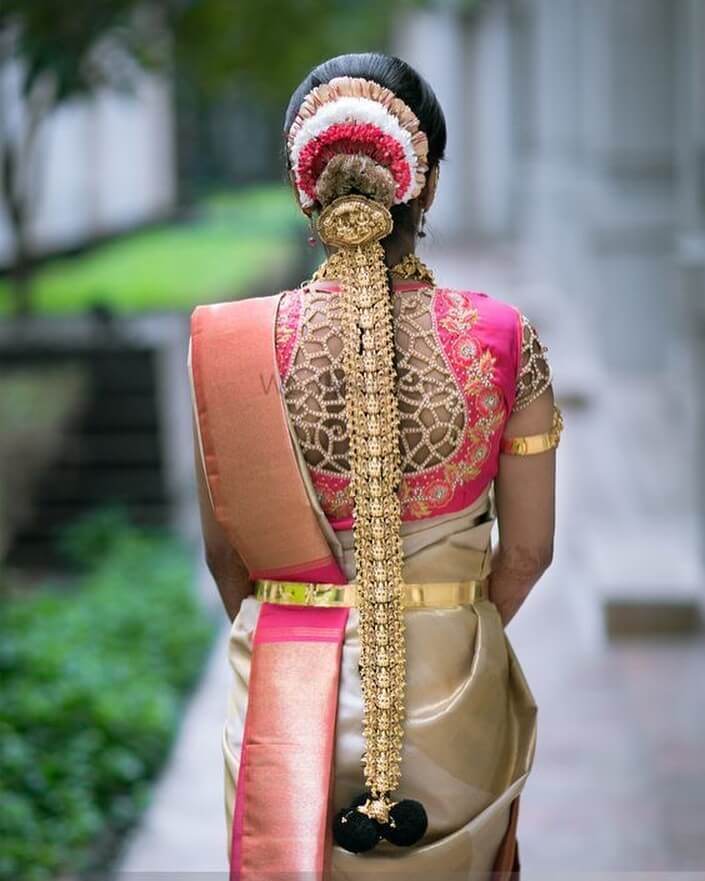 Such an intricate blouse embroidery South Indian Real Bride Designer