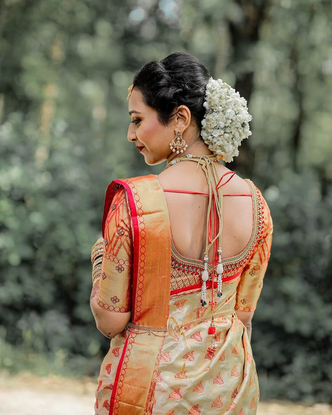 simple yet too elegant blouse for any saree South Indian Real Bride Designer Blouse Designs