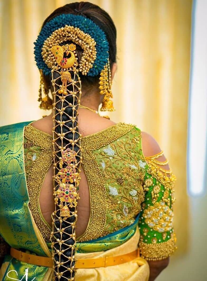 Cold shoulder blouses South Indian Real Bride Designer