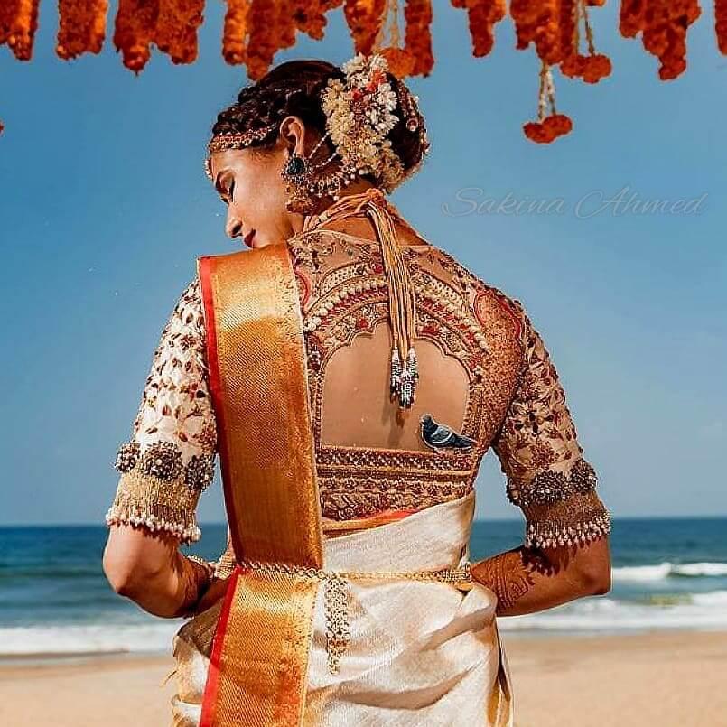 Pigeon motif South Indian Real Bride Designer Blouse Designs
