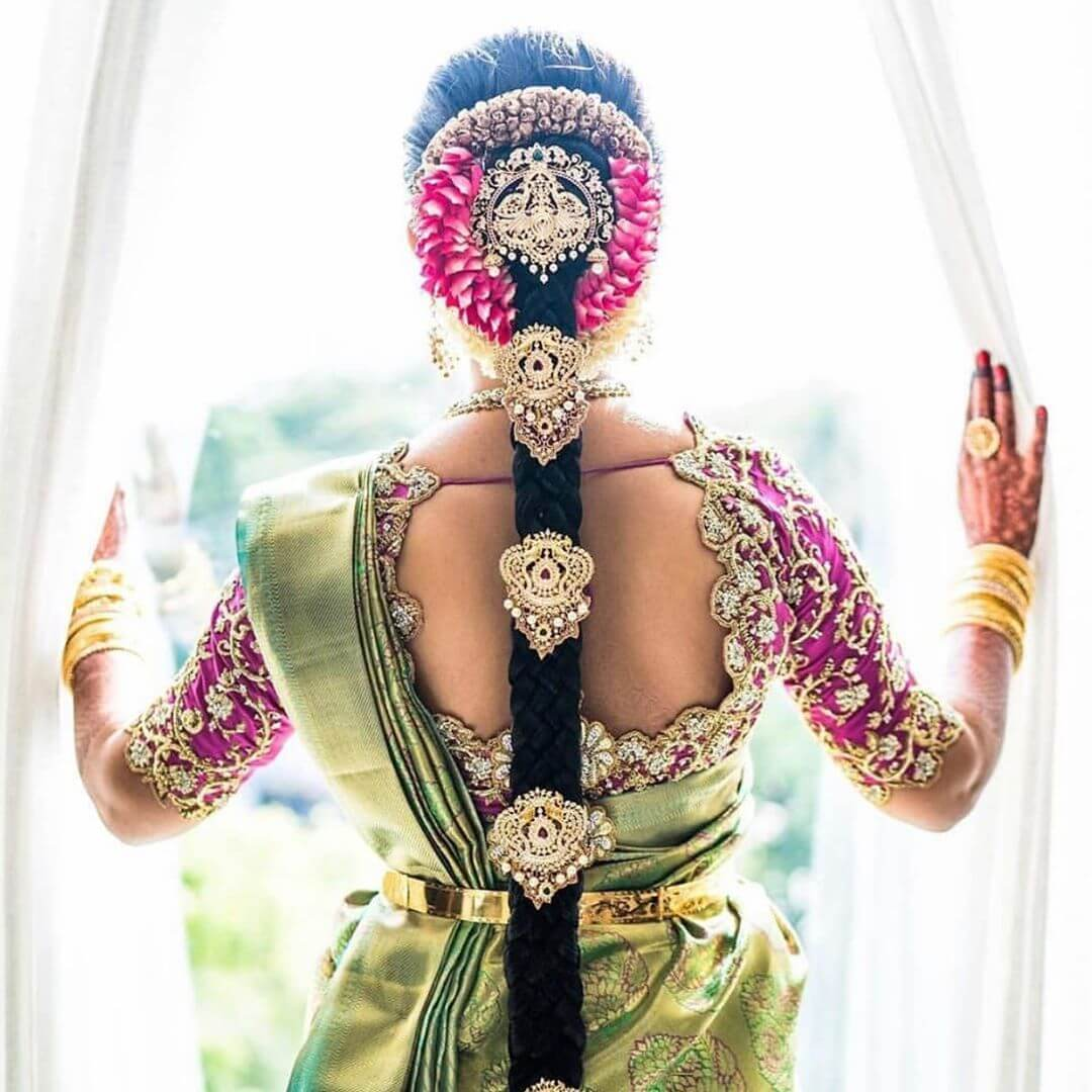 Green saree and pink blouse South Indian Real Bride