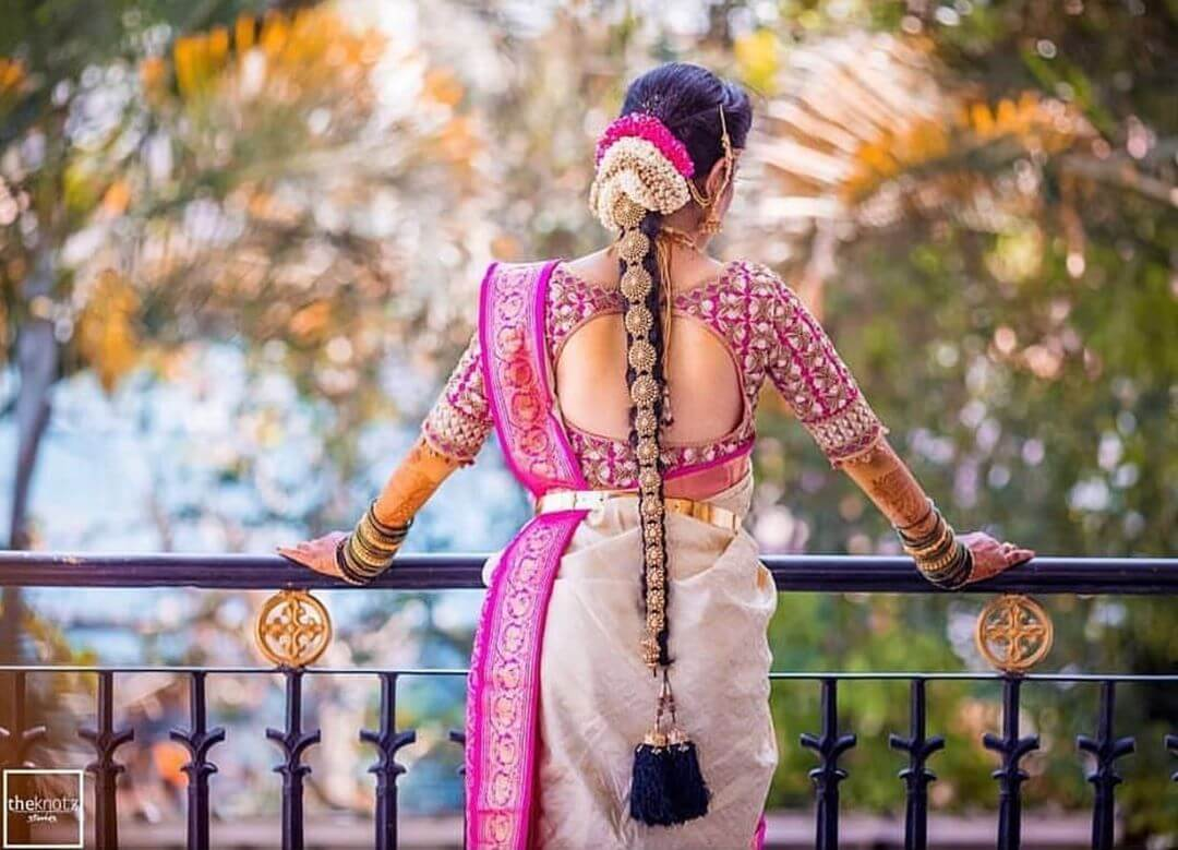 Heavy embroidery fuchsia pink South Indian Real Bride Designer Blouse Designs