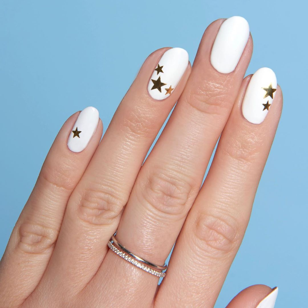 Shine with Stars White Nail Art Designs