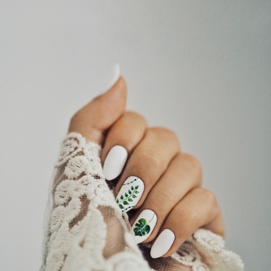 Inspired by Leaves White Nail Art Designs