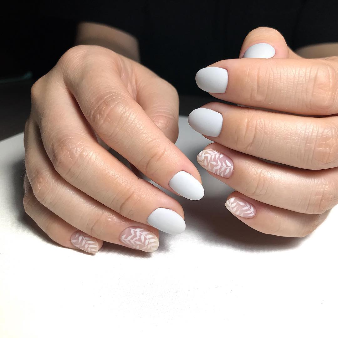White Leaves White Nail Art Designs