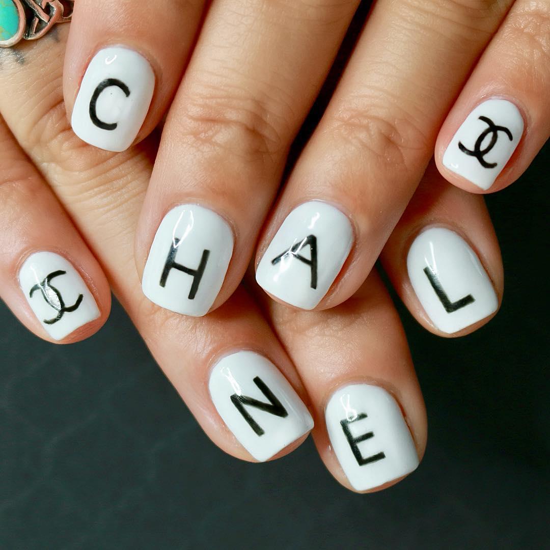 Chanel Branding White Nail Art Designs