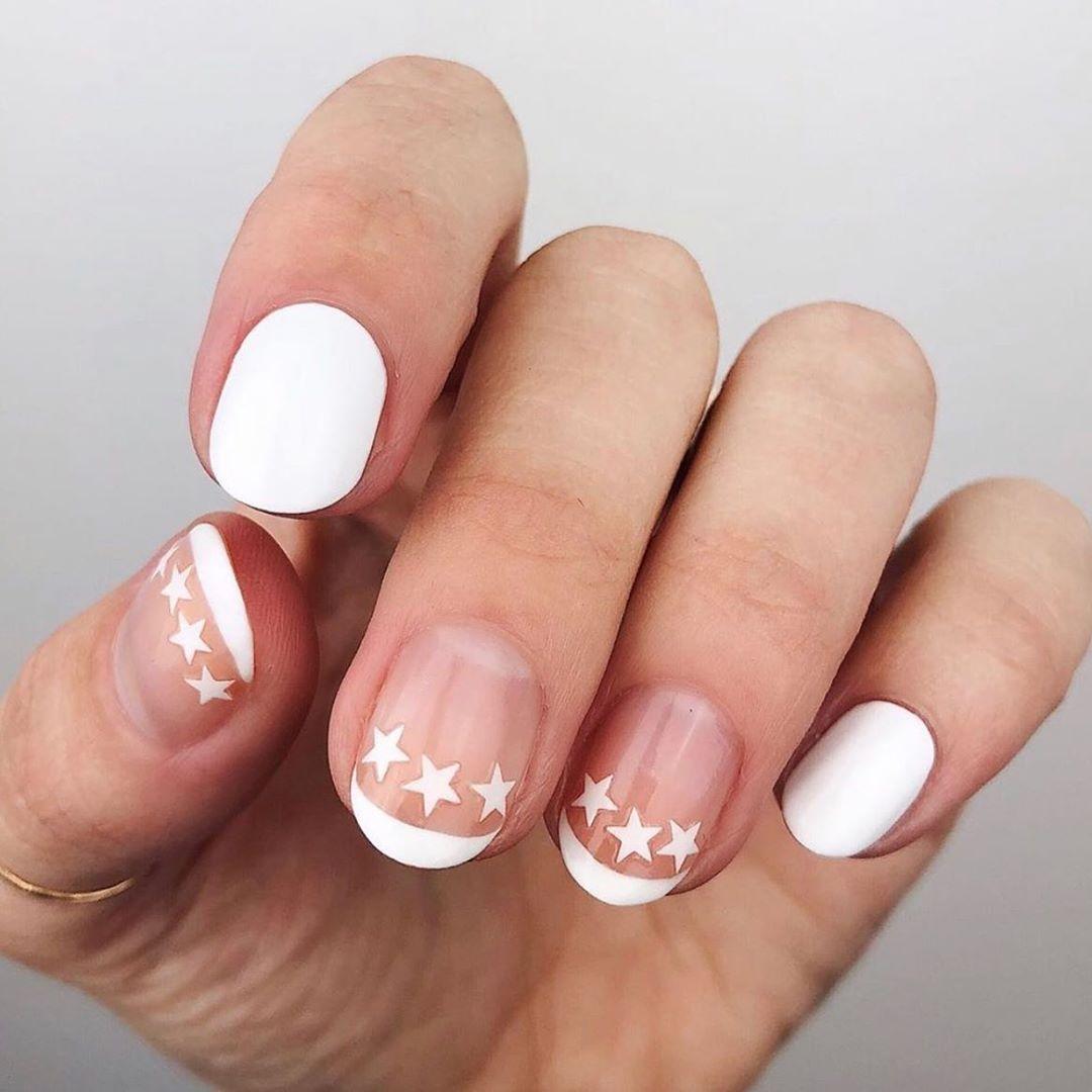 Stars Manicures White Nail Art Designs