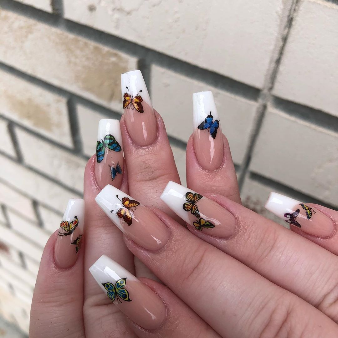 Butterfly Nails White Nail Art Designs