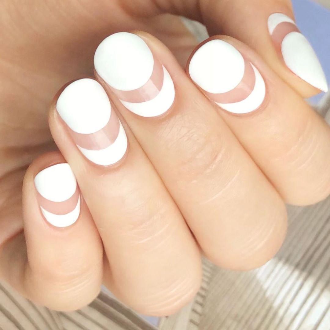 Moon Manicure White Nail Art Designs