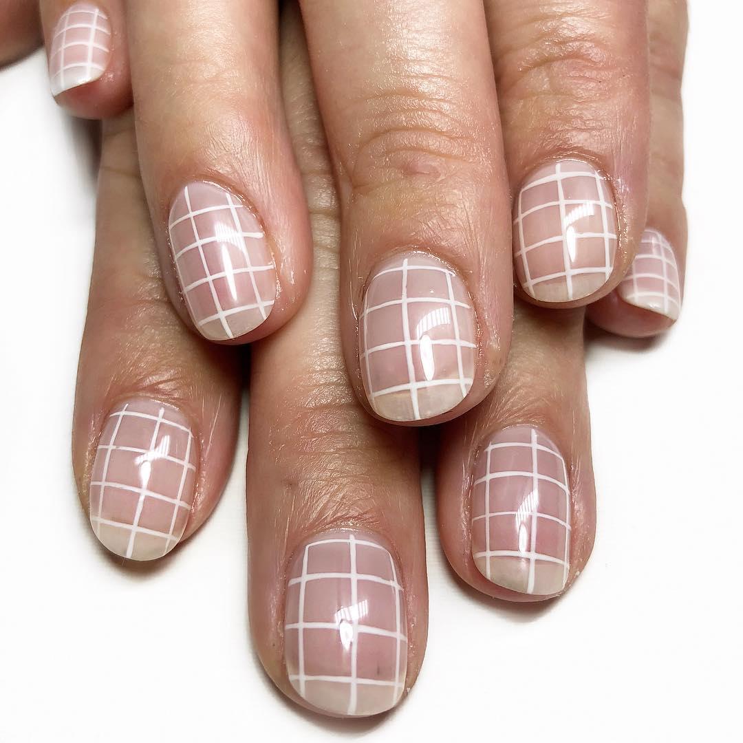 Simple Grids White Nail Art Designs