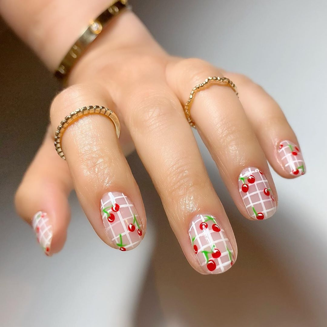 Grid lines with cherries White Nail Art Designs