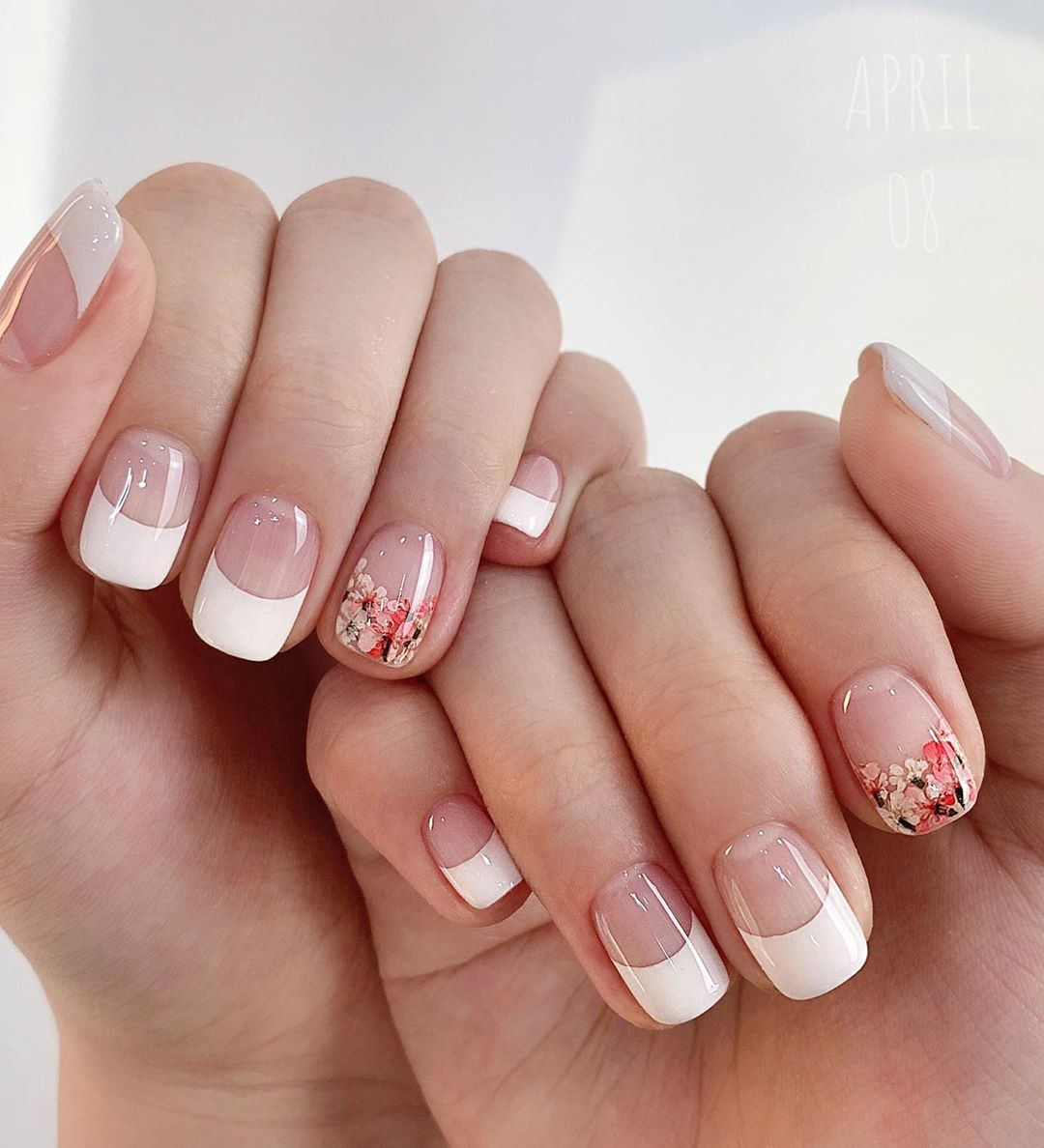 Floral Prints, White Tips White Nail Art Designs