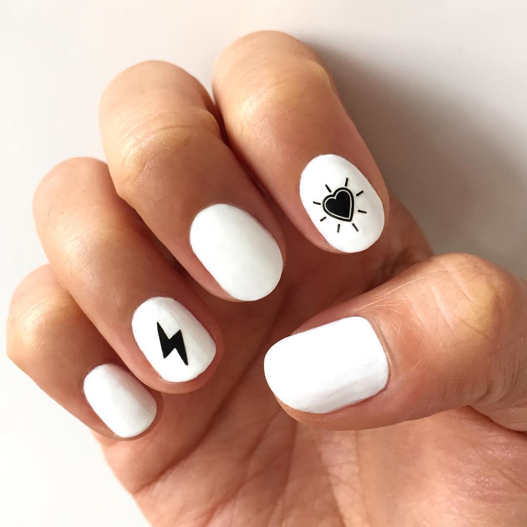 Thunderbolt and Hearts White Nail Art Designs