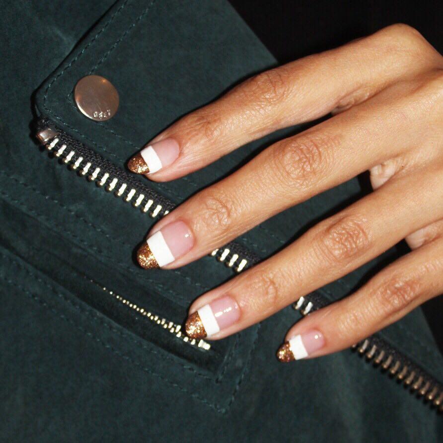 Warm Bronze Glitter White Nail Art Designs