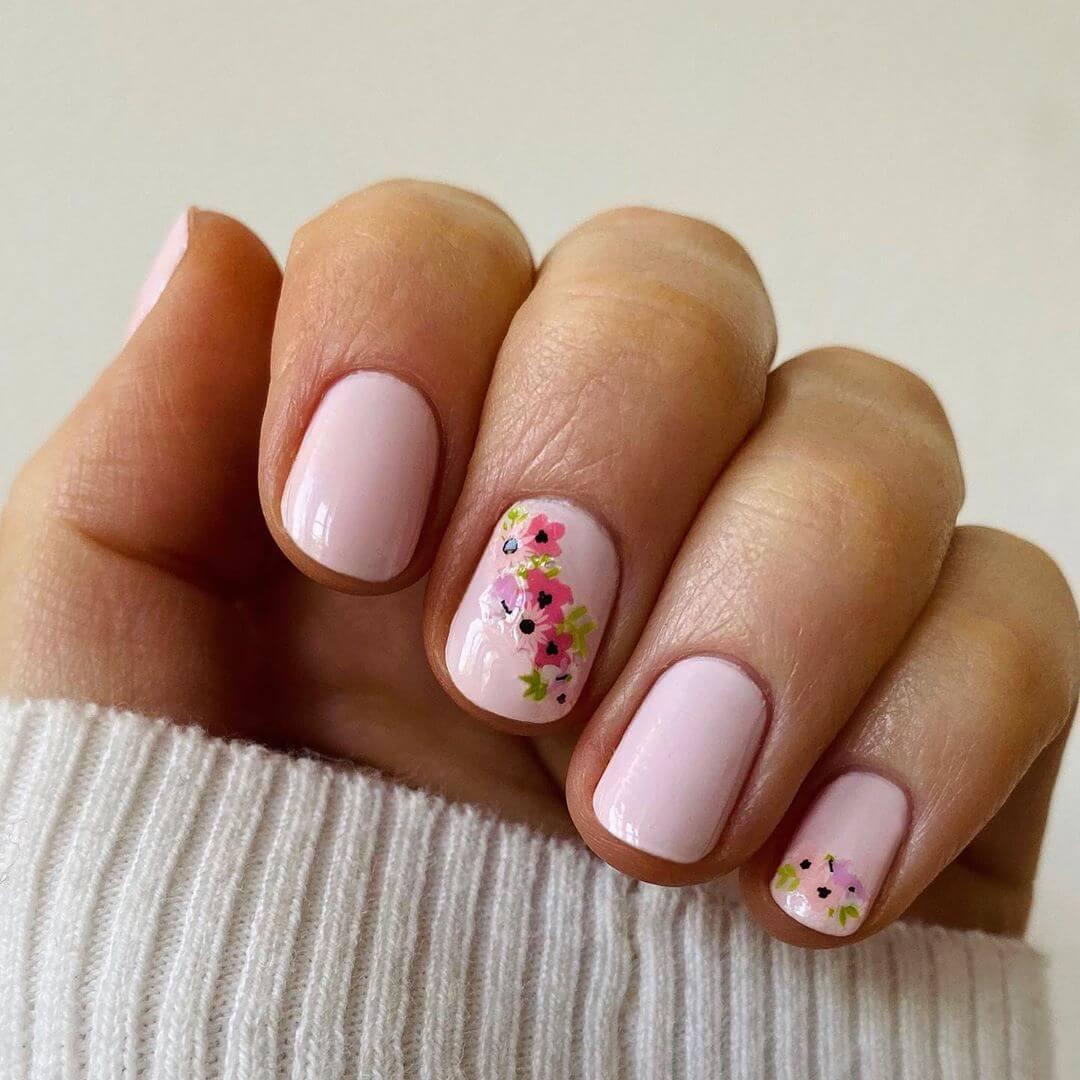 Floral Engagement Nail Art Designs