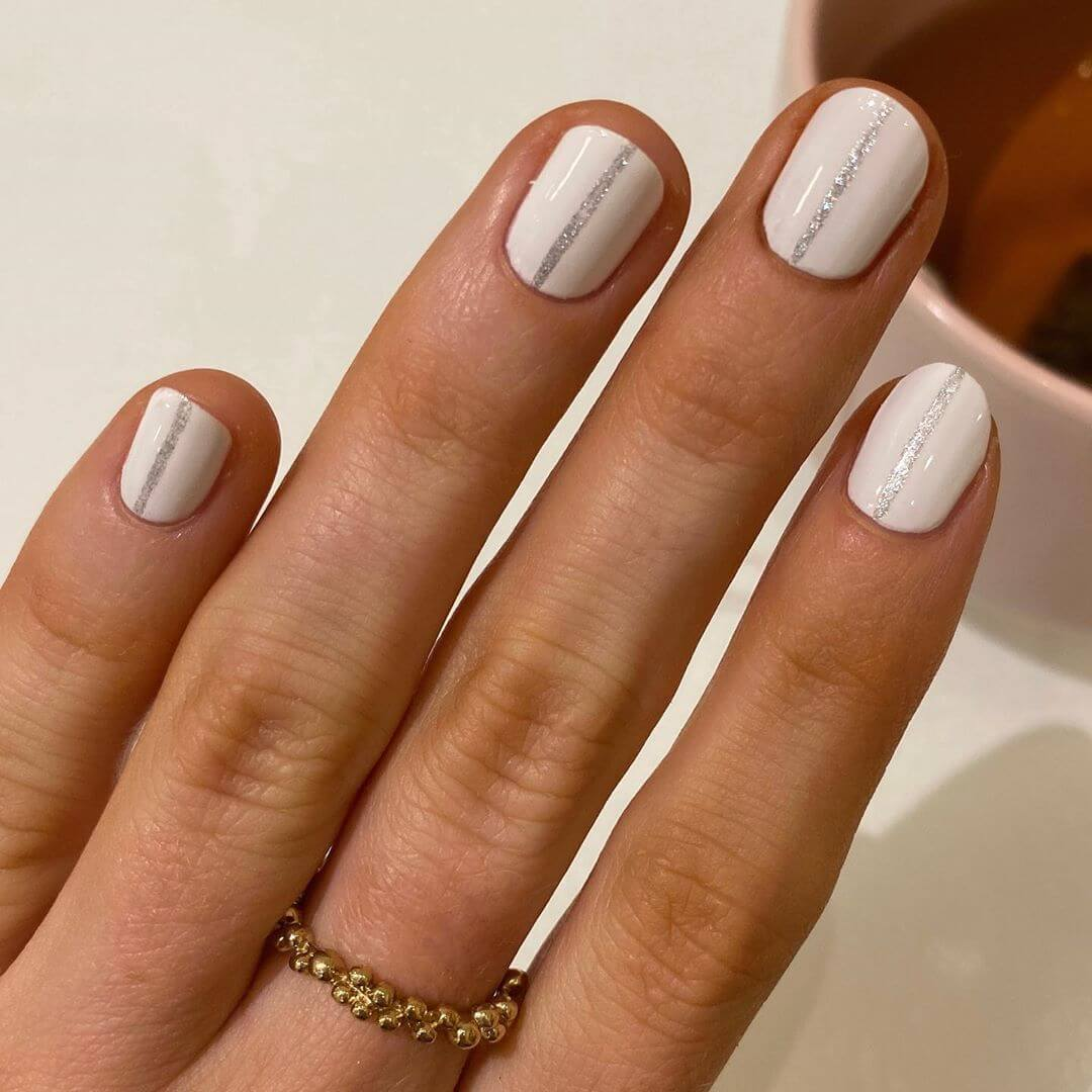 White and Silver Engagement Nail Art Designs