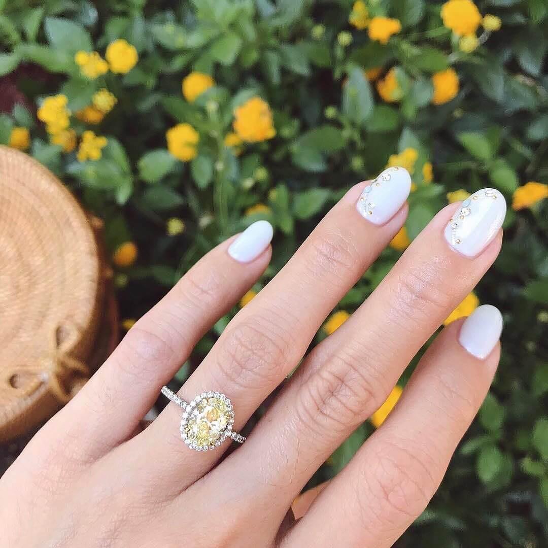 Elegant White Engagement Nail Art Designs