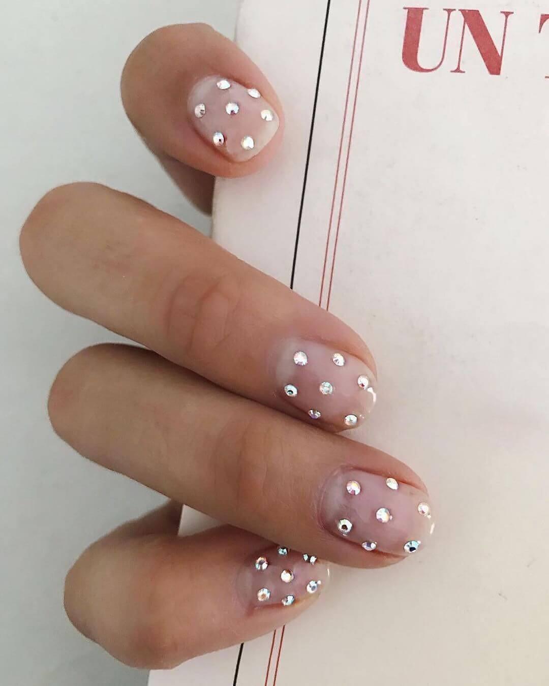 Glossy Embellishment Engagement Nail Art Designs